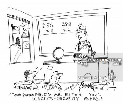'Good morning.  I'm Mr Elton.  Your teacher-security guard.'